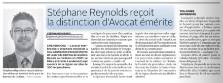 Distinction avocat émérite-Stéphane Reynolds-la tribune-2017-08-15